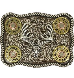 M & F Belt Buckle - Buck Skull with Shot Gun Shells and Rope Edge