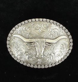 Nocona Belt Buckle - Long Horn with a Berry Edge