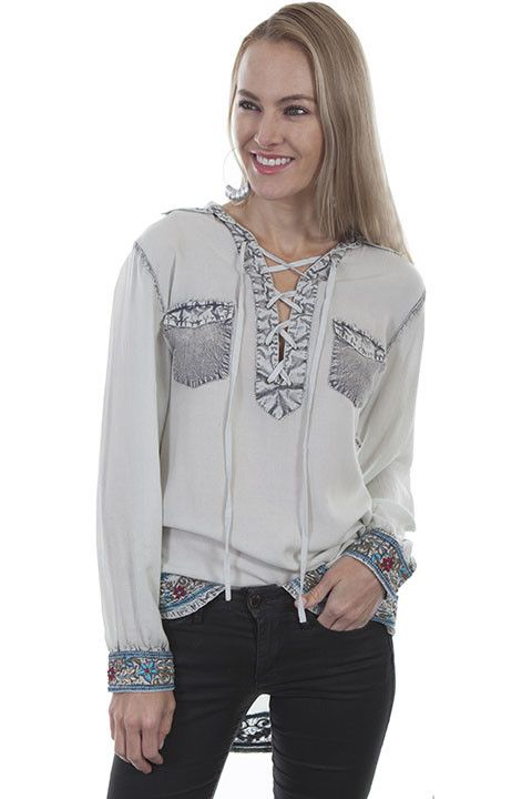 Scully Women's Scully Long Sleeve Lace Up Blouse w/ Embroidery