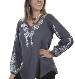 Scully Women's Scully Long Sleeve V-Neck w/ Embroidery