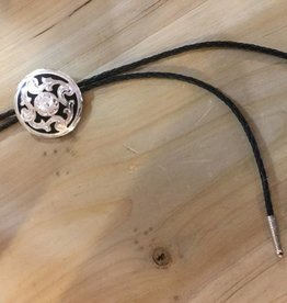 Rockmount Bolo Tie - Round Silver with Black Inlay