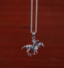 Baron Silver Horse Racing Pendant with Chain