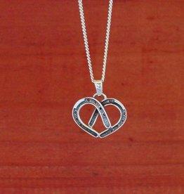 Baron Silver Necklace - Heart Horse Shoe Pendant