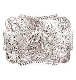 M & F Nocona Youth Horsehead Buckle Silver Kids