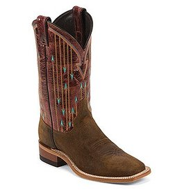 Justin Western Women's Justin Brown Bent Rail Boots with Brown Pattern Top - Reg $199.95 now 25% OFF! 7B