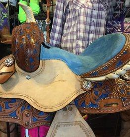 "12"" Youth Barrel Saddle, Blue Roughout, FQHB"