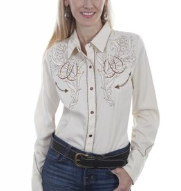 Scully Women's Scully Roses and Horseshoes Embroidered Shirt