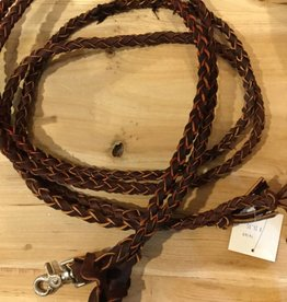 Circle L Round Braided Leather Split Reins D. Oil - 6' with Snap Ends