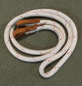 Circle L Roping Reins w/ Water Tie Ends, White/Red