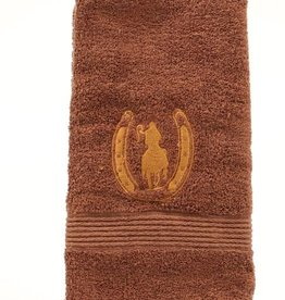 """Western Moments Rider and Horseshoe Hand Towel - 20""""x28"""""""