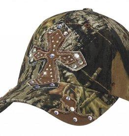 Ball Cap - Mossy Oak with Crystal Cross
