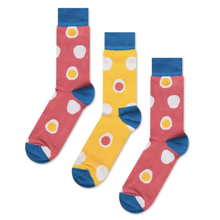 Odd Pears - Two coral socks one mustard sock