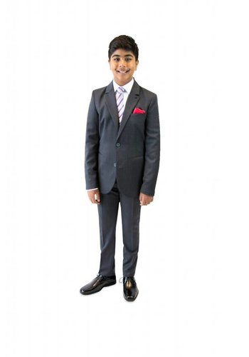 Armani Junior Armani Junior Classic Charcoal Grey Slim Wool Suit