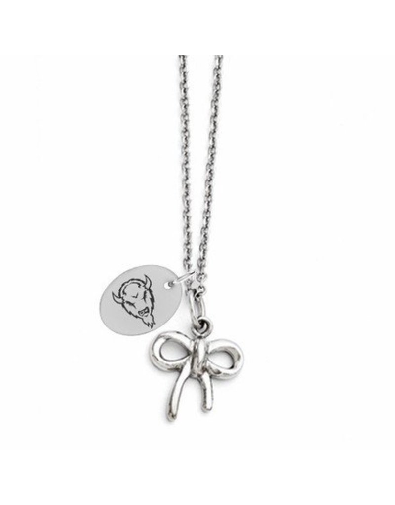 Collegiate Bead Company Marshall University Stainless Steel Small Bow Necklace