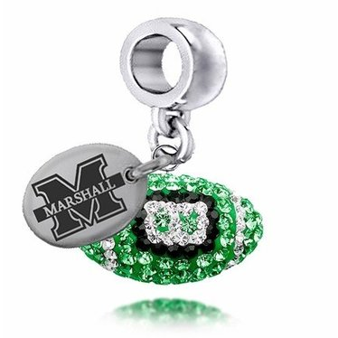 Collegiate Bead Company Marshall University Czech Crystal Football Drop Bead