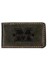 Marshall University Leather Money Clip-Black