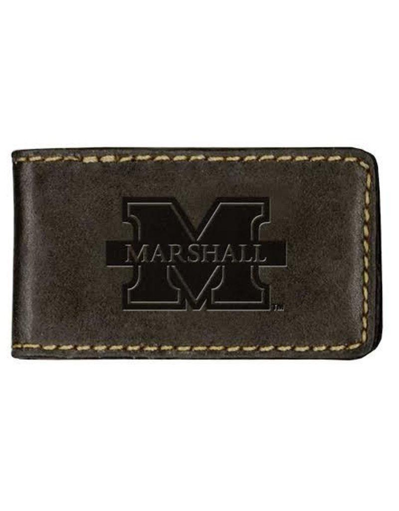 Marshall University Leather Money Clip-Black