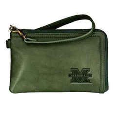 Marshall University Green Leather Wristlet