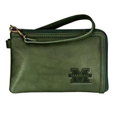 Marshall University Green Leather Wristlet
