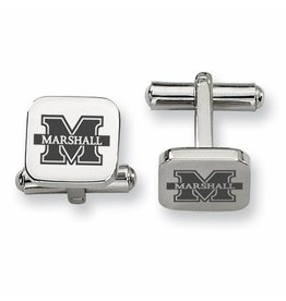 Collegiate Bead Company Marshall University Stainless Square Cufflinks- Marshall