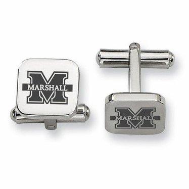 Collegiate Bead Company Marshall University Stainless Square Cufflinks- Marshall