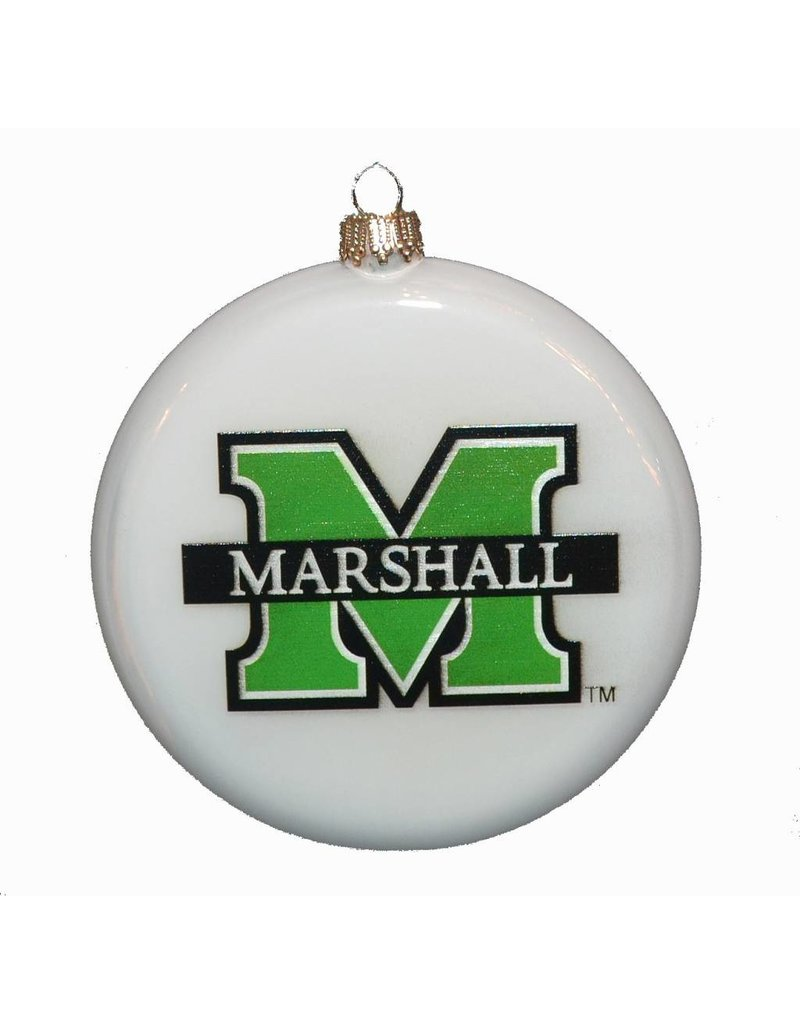 Marshall University Round Pearl Glass Christmas Ornament