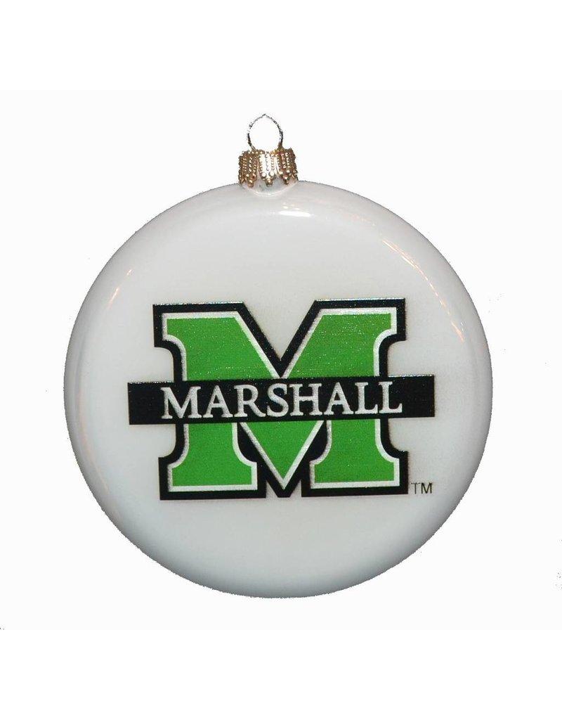 Marshall University Round Pearl Glass Christmas Ornament
