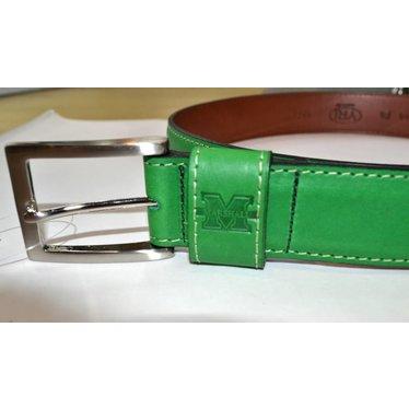 Marshall University Men's Green Leather Belt