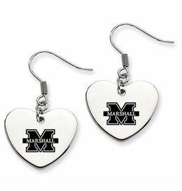 Collegiate Bead Company Marshall University Heart Drop Earrings