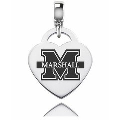 Collegiate Bead Company Marshall University Thundering Herd Silver Heart Dangle Bead