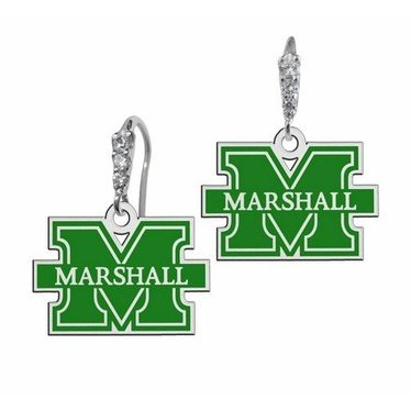 Collegiate Bead Company Marshall University CZ Logo Earrings