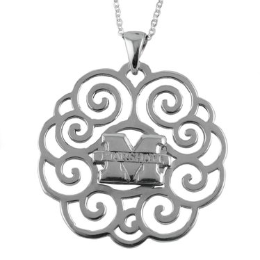 Marshall University Silver Filigree Necklace