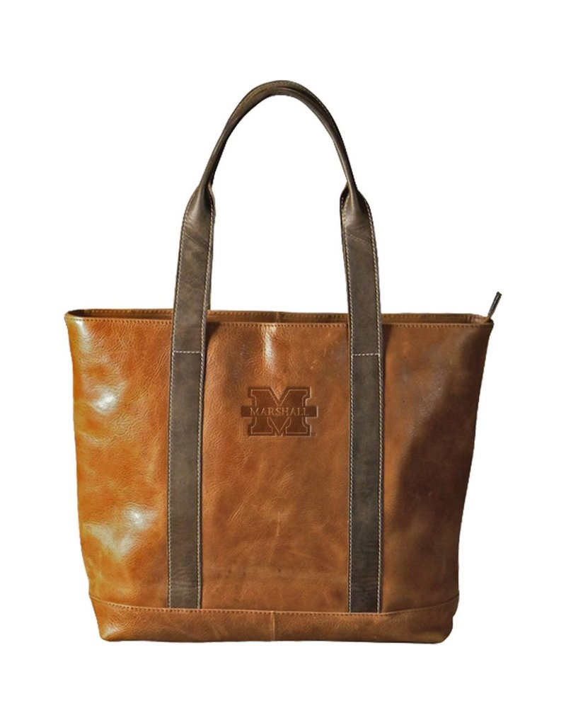 Marshall University Two-Tone Leather Tote