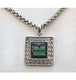 Marshall University The Herd Geometric Square Necklace