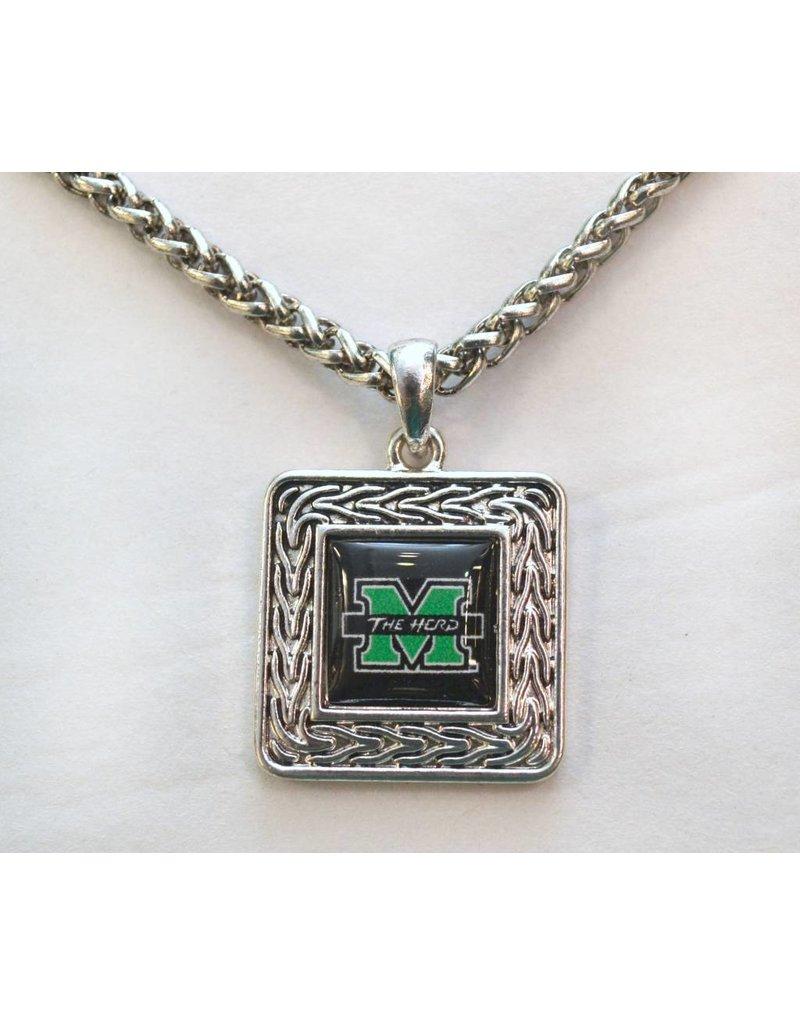 Marshall University The Herd Geometric Square Necklace