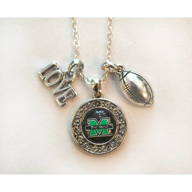 Marshall University The Herd Love Football Necklace