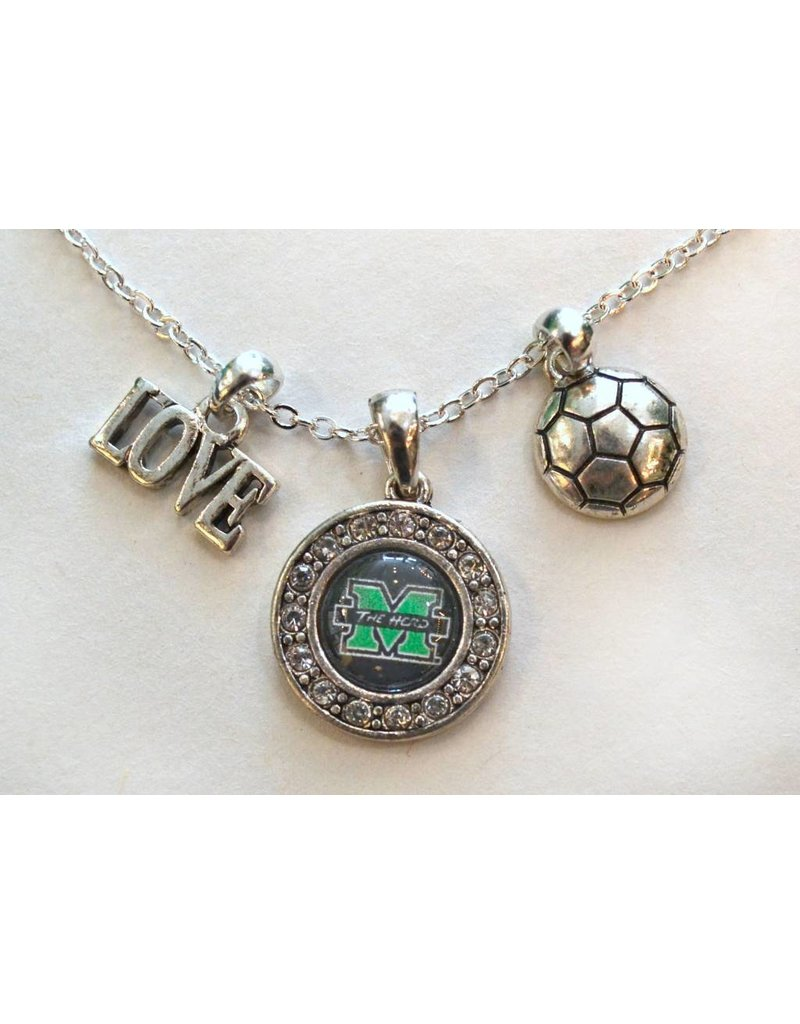 Marshall University The Herd Love Soccer Pendant