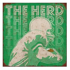 Marshall University Deco Player Tin Sign