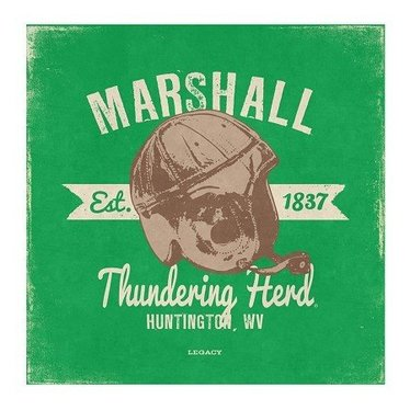 Marshall University Vintage Canvas Art-Helmet