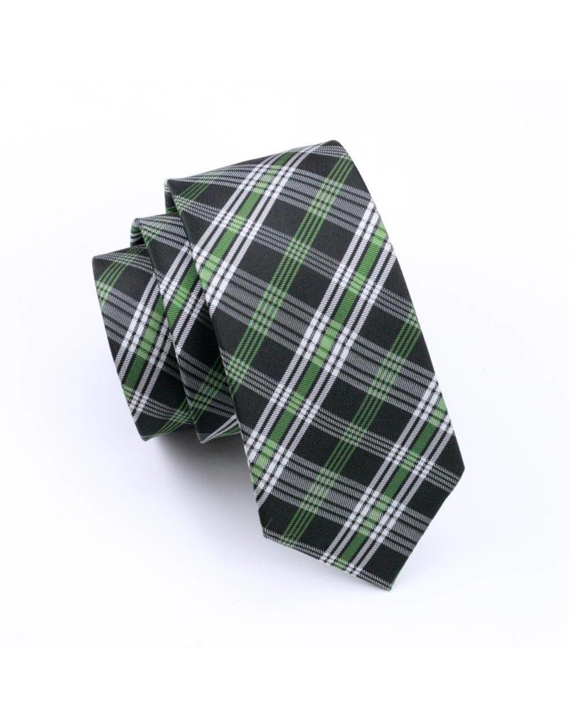 Black Jacquard Plaid Silk Tie