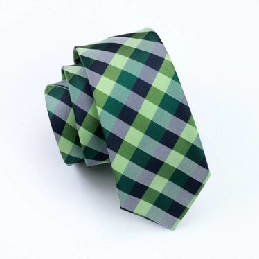Multi-Green Checked Silk Tie