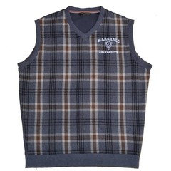 Marshall University Camel Plaid Wool Vest