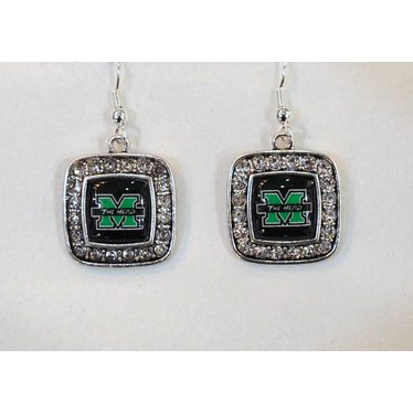 Marshall University The Herd Crystal Square Earrings