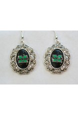 Marshall University The Herd Crystal Lacy Oval Earrings