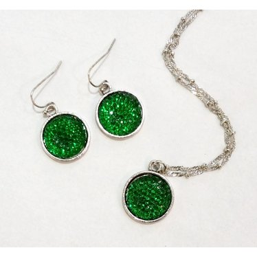 Green Glamour Disc Necklace Set