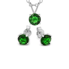 Green Swarovski Silvertone Necklace & Earring Set