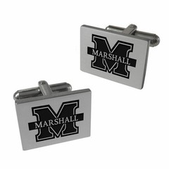Collegiate Bead Company Marshall University Stainless Laser Engraved Cufflinks