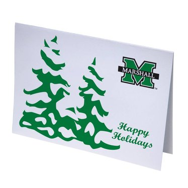 Marshall University Snowy Trees Happy Holiday Cards