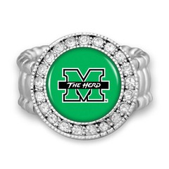 Marshall University The Herd Stretchy Crystal Circle Ring