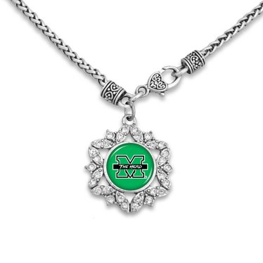 Marshall University The Herd Love Crystal Starburst Necklace
